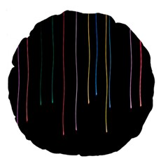 Falling Light Lines Perfection Graphic Colorful Large 18  Premium Flano Round Cushions