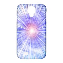 Creation Light Blue White Neon Sun Samsung Galaxy S4 Classic Hardshell Case (pc+silicone)
