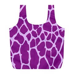 Giraffe Skin Purple Polka Full Print Recycle Bags (L)