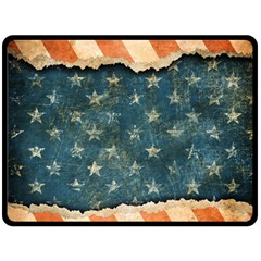 Grunge Ripped Paper Usa Flag Double Sided Fleece Blanket (Large)