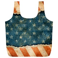 Grunge Ripped Paper Usa Flag Full Print Recycle Bags (L)