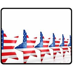 Multiple Us Flag Stars Line Slide Double Sided Fleece Blanket (Medium)