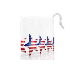Multiple Us Flag Stars Line Slide Drawstring Pouches (Small)