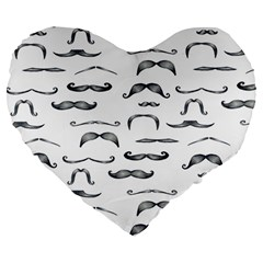 Mustache Man Black Hair Large 19  Premium Flano Heart Shape Cushions