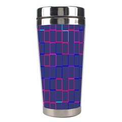 Grid Lines Square Pink Cyan Purple Blue Squares Lines Plaid Stainless Steel Travel Tumblers