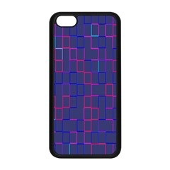 Grid Lines Square Pink Cyan Purple Blue Squares Lines Plaid Apple iPhone 5C Seamless Case (Black)