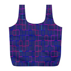 Grid Lines Square Pink Cyan Purple Blue Squares Lines Plaid Full Print Recycle Bags (L)