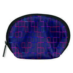 Grid Lines Square Pink Cyan Purple Blue Squares Lines Plaid Accessory Pouches (Medium)