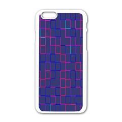 Grid Lines Square Pink Cyan Purple Blue Squares Lines Plaid Apple iPhone 6/6S White Enamel Case