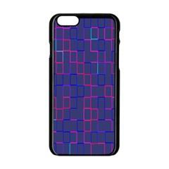 Grid Lines Square Pink Cyan Purple Blue Squares Lines Plaid Apple iPhone 6/6S Black Enamel Case