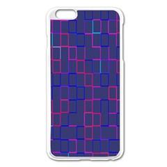 Grid Lines Square Pink Cyan Purple Blue Squares Lines Plaid Apple iPhone 6 Plus/6S Plus Enamel White Case