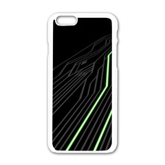 Green Lines Black Anime Arrival Night Light Apple iPhone 6/6S White Enamel Case