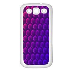 Hexagon Widescreen Purple Pink Samsung Galaxy S3 Back Case (white)