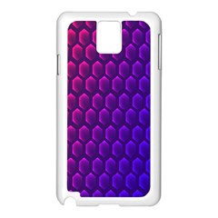 Hexagon Widescreen Purple Pink Samsung Galaxy Note 3 N9005 Case (White)