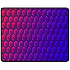 Hexagon Widescreen Purple Pink Double Sided Fleece Blanket (Medium)