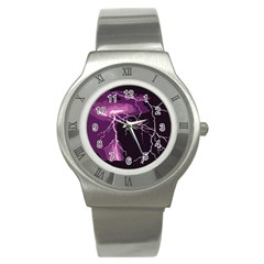 Lightning Pink Sky Rain Purple Light Stainless Steel Watch