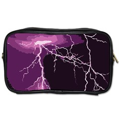 Lightning Pink Sky Rain Purple Light Toiletries Bags 2 Side