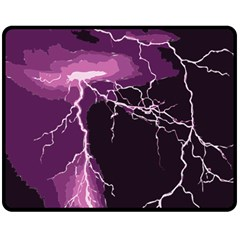 Lightning Pink Sky Rain Purple Light Double Sided Fleece Blanket (Medium)
