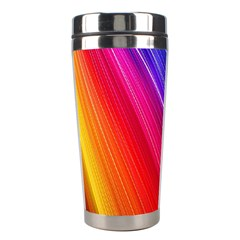 Multicolor Light Beam Line Rainbow Red Blue Orange Gold Purple Pink Stainless Steel Travel Tumblers