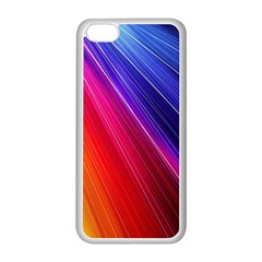 Multicolor Light Beam Line Rainbow Red Blue Orange Gold Purple Pink Apple iPhone 5C Seamless Case (White)