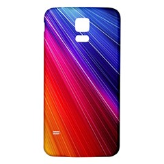 Multicolor Light Beam Line Rainbow Red Blue Orange Gold Purple Pink Samsung Galaxy S5 Back Case (White)