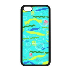 Mustache Jellyfish Blue Water Sea Beack Swim Blue Apple Iphone 5c Seamless Case (black)