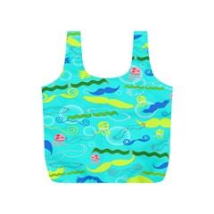 Mustache Jellyfish Blue Water Sea Beack Swim Blue Full Print Recycle Bags (S)