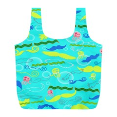 Mustache Jellyfish Blue Water Sea Beack Swim Blue Full Print Recycle Bags (L)