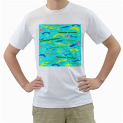 Mustache Jellyfish Blue Water Sea Beack Swim Blue Men s T-Shirt (White)