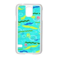 Mustache Jellyfish Blue Water Sea Beack Swim Blue Samsung Galaxy S5 Case (White)