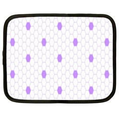 Purple White Hexagon Dots Netbook Case (xl)