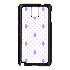 Purple White Hexagon Dots Samsung Galaxy Note 3 N9005 Case (Black)