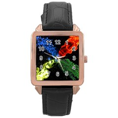 Perfect Amoled Screens Fire Water Leaf Sun Rose Gold Leather Watch