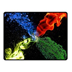 Perfect Amoled Screens Fire Water Leaf Sun Double Sided Fleece Blanket (Small)