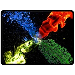 Perfect Amoled Screens Fire Water Leaf Sun Double Sided Fleece Blanket (Large)