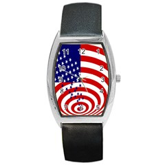 Star Line Hole Red Blue Barrel Style Metal Watch