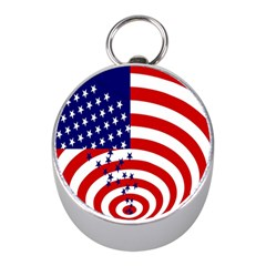 Star Line Hole Red Blue Mini Silver Compasses
