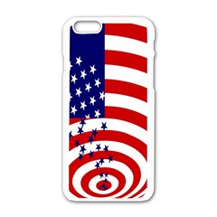 Star Line Hole Red Blue Apple iPhone 6/6S White Enamel Case