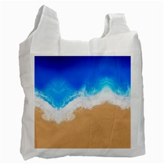 Sand Beach Water Sea Blue Brown Waves Wave Recycle Bag (one Side)