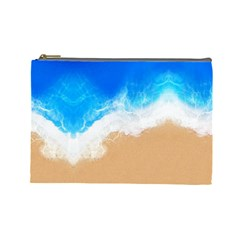 Sand Beach Water Sea Blue Brown Waves Wave Cosmetic Bag (Large)