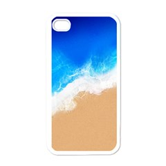 Sand Beach Water Sea Blue Brown Waves Wave Apple Iphone 4 Case (white)
