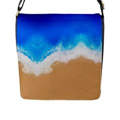 Sand Beach Water Sea Blue Brown Waves Wave Flap Messenger Bag (L)