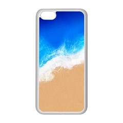 Sand Beach Water Sea Blue Brown Waves Wave Apple Iphone 5c Seamless Case (white)