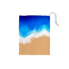 Sand Beach Water Sea Blue Brown Waves Wave Drawstring Pouches (Small)