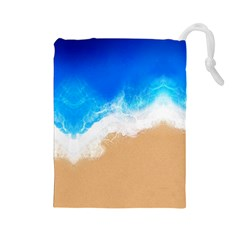 Sand Beach Water Sea Blue Brown Waves Wave Drawstring Pouches (Large)