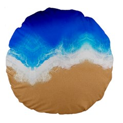 Sand Beach Water Sea Blue Brown Waves Wave Large 18  Premium Flano Round Cushions