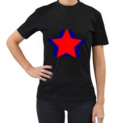 Stars Red Blue Women s T Shirt (black) (two Sided)