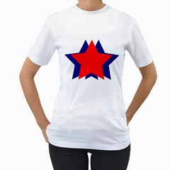 Stars Red Blue Women s T-Shirt (White)