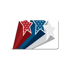 Star Red Blue White Line Space Magnet (name Card)