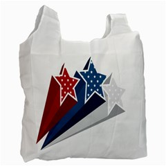Star Red Blue White Line Space Recycle Bag (one Side)